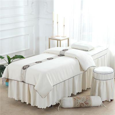 2019新款全棉棉麻欧式美容床罩 圆头四件套 (70*185) 米白色 (非正白)