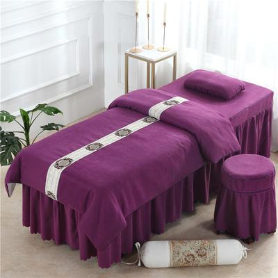 2019新款全棉棉麻欧式美容床罩 圆头四件套 (70*185) 深紫