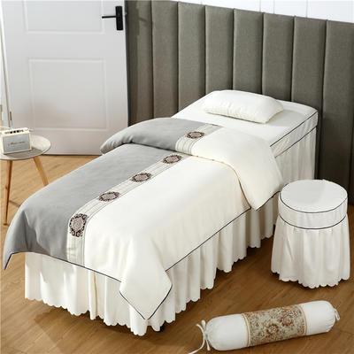 2019新款全棉棉麻欧式美容床罩 圆头四件套 (70*185) 灰+米白