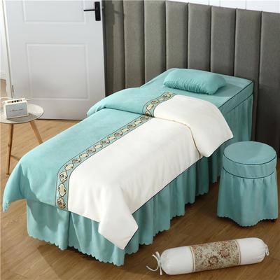 2019新款全棉棉麻欧式美容床罩 圆头四件套 (70*185) 米白+翠绿