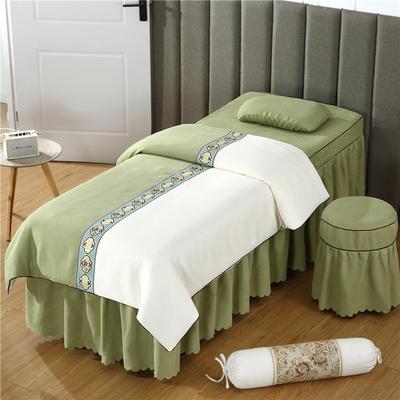 2019新款全棉棉麻欧式美容床罩 圆头四件套 (70*185) 米白+豆绿