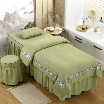 2020新款棉麻新欧式花边美容床罩 圆头四件套 (70*185) 豆绿