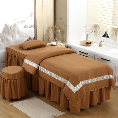 2020新款棉麻新欧式花边美容床罩 圆头四件套 (70*185) 咖色