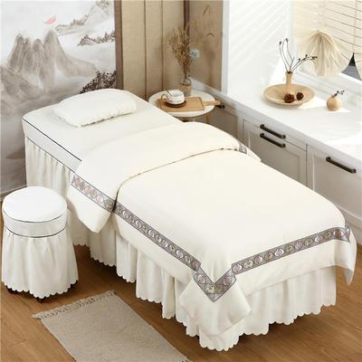 2020新款棉麻新欧式花边美容床罩 圆头四件套 (70*185) 米白