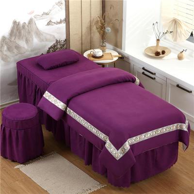 2020新款棉麻新欧式花边美容床罩 圆头四件套 (70*185) 深紫