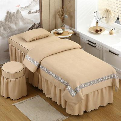 2020新款棉麻新欧式花边美容床罩 圆头四件套 (70*185) 驼色