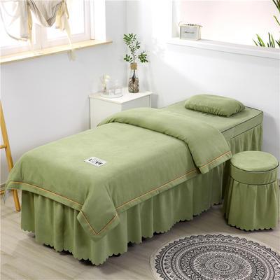 2020新款棉麻压线款美容床罩 圆头四件套 (70*185) 豆绿