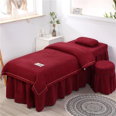 2020新款棉麻压线款美容床罩 圆头四件套 (70*185) 酒红