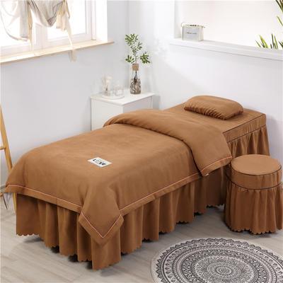 2020新款棉麻压线款美容床罩 圆头四件套 (70*185) 咖色