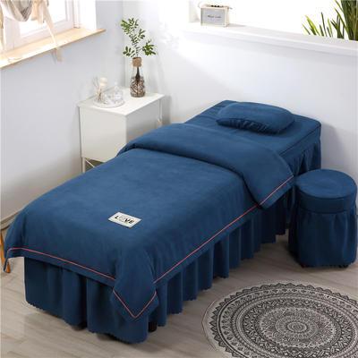 2020新款棉麻压线款美容床罩 圆头四件套 (70*185) 兰灰