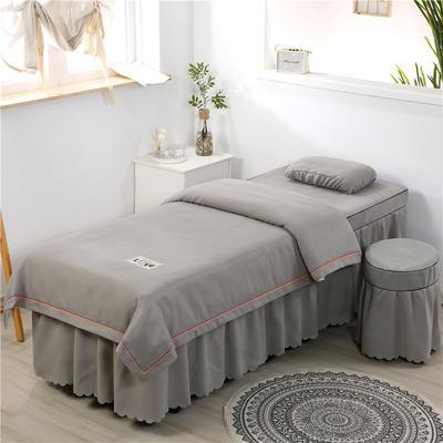 2020新款棉麻压线款美容床罩 圆头四件套 (70*185) 浅灰
