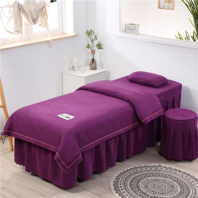 2020新款棉麻压线款美容床罩 圆头四件套 (70*185) 深紫