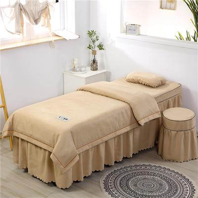 2020新款棉麻压线款美容床罩 圆头四件套 (70*185) 驼色