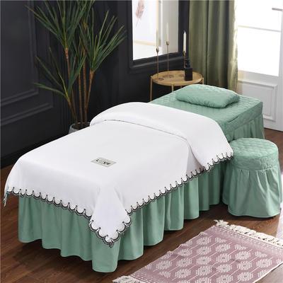 2020新款磨毛天絲花邊美容床罩 圓頭四件套 (70*185) 白+翠綠