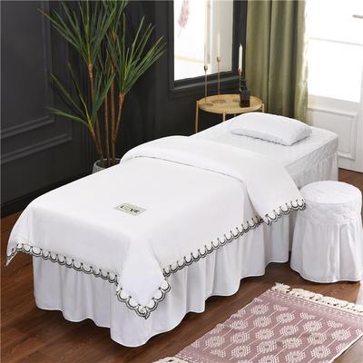 2020新款磨毛天絲花邊美容床罩 圓頭四件套 (70*185) 白色