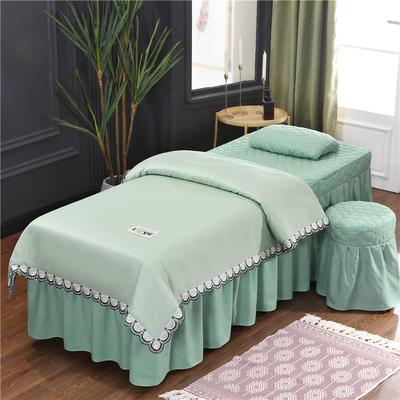 2020新款磨毛天絲花邊美容床罩 圓頭四件套 (70*185) 翠綠
