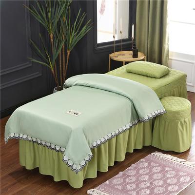 2020新款磨毛天絲花邊美容床罩 圓頭四件套 (70*185) 翠綠+豆綠