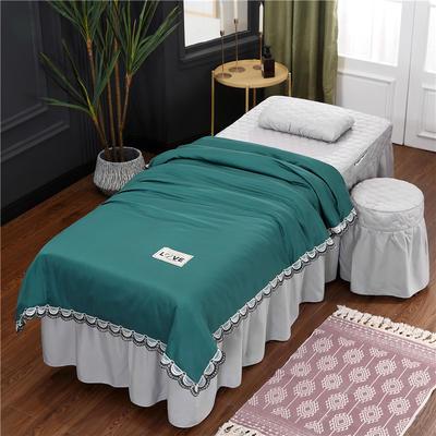 2020新款磨毛天絲花邊美容床罩 圓頭四件套 (70*185) 墨綠+灰
