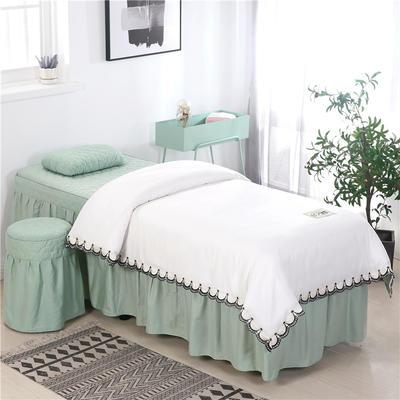 2020新款全棉天絲花邊美容床罩 圓頭四件套 (70*185) 白+翠綠