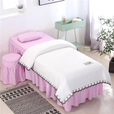 2020新款全棉天絲花邊美容床罩 圓頭四件套 (70*185) 白+粉