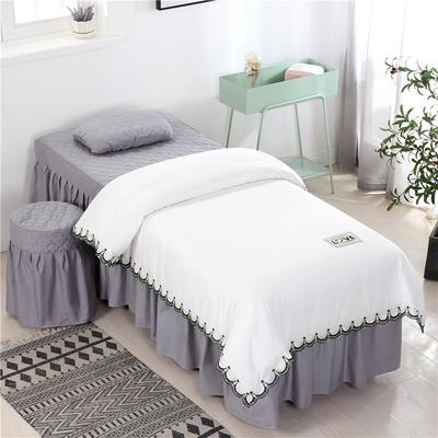 2020新款全棉天絲花邊美容床罩 圓頭四件套 (70*185) 白+灰