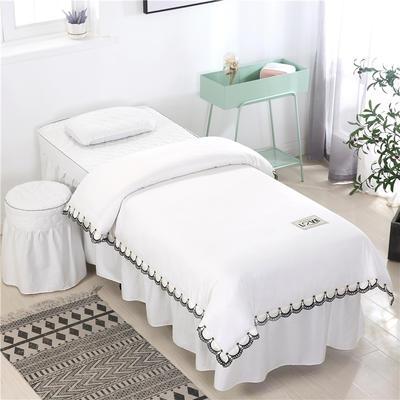 2020新款全棉天絲花邊美容床罩 圓頭四件套 (70*185) 白色