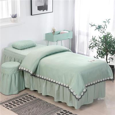 2020新款全棉天絲花邊美容床罩 圓頭四件套 (70*185) 翠綠