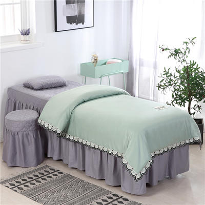 2020新款全棉天絲花邊美容床罩 圓頭四件套 (70*185) 翠綠+灰
