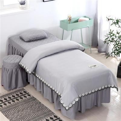 2020新款全棉天絲花邊美容床罩 圓頭四件套 (70*185) 灰色