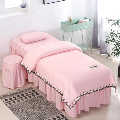 2020新款全棉天絲花邊美容床罩 圓頭四件套 (70*185) 玉色