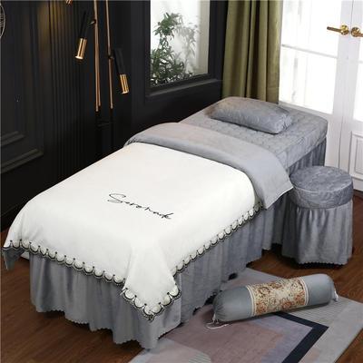 2020新款牛奶水晶绒布拉格夹棉系列美容床罩四件套 圆头四件套 (70*185) JC-白+灰