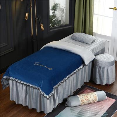 2020新款牛奶水晶绒布拉格夹棉系列美容床罩四件套 圆头四件套 (70*185) JC-藏蓝+灰