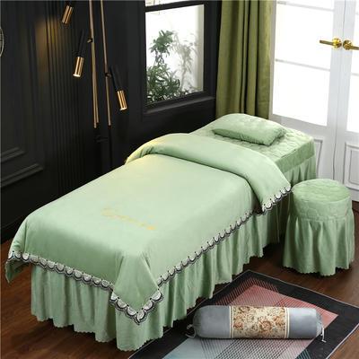 2020新款牛奶水晶绒布拉格夹棉系列美容床罩四件套 圆头四件套 (70*185) JC-豆绿