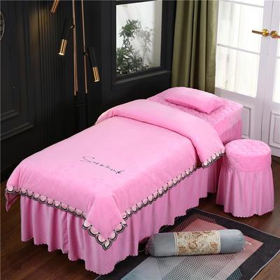 2020新款牛奶水晶绒布拉格夹棉系列美容床罩四件套 圆头四件套 (70*185) JC-粉色