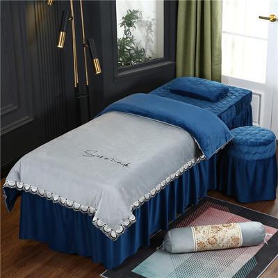 2020新款牛奶水晶绒布拉格夹棉系列美容床罩四件套 圆头四件套 (70*185) JC-灰+藏蓝