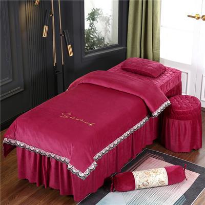 2020新款牛奶水晶绒布拉格夹棉系列美容床罩四件套 圆头四件套 (70*185) JC-酒红