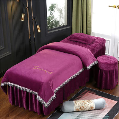 2020新款牛奶水晶绒布拉格夹棉系列美容床罩四件套 圆头四件套 (70*185) JC-魅紫