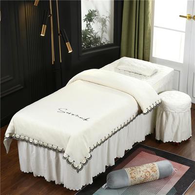 2020新款牛奶水晶绒布拉格夹棉系列美容床罩四件套 圆头四件套 (70*185) JC-米白