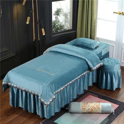 2020新款牛奶水晶绒布拉格夹棉系列美容床罩四件套 圆头四件套 (70*185) JC-浅蓝