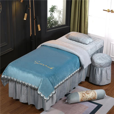 2020新款牛奶水晶绒布拉格夹棉系列美容床罩四件套 圆头四件套 (70*185) JC-浅蓝+灰