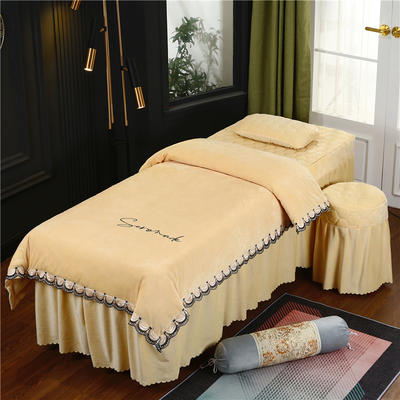 2020新款牛奶水晶绒布拉格夹棉系列美容床罩四件套 圆头四件套 (70*185) JC-浅驼