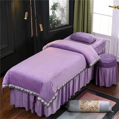 2020新款牛奶水晶绒布拉格夹棉系列美容床罩四件套 圆头四件套 (70*185) JC-香槟紫