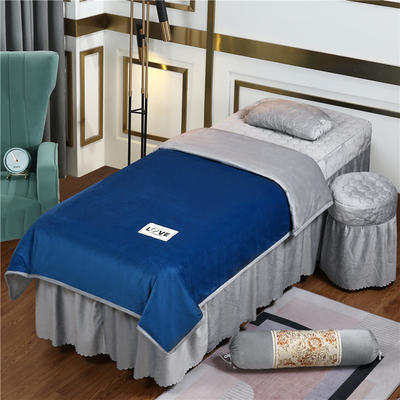 2020新款牛奶水晶绒梦之语夹棉系列美容床罩四件套 圆头四件套 (70*185) JB-藏蓝+灰