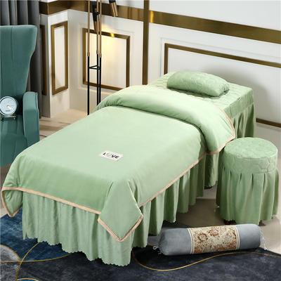 2020新款牛奶水晶绒梦之语夹棉系列美容床罩四件套 圆头四件套 (70*185) JB-豆绿