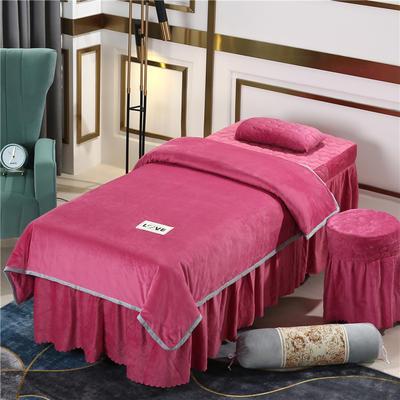 2020新款牛奶水晶绒梦之语夹棉系列美容床罩四件套 圆头四件套 (70*185) JB-豆沙