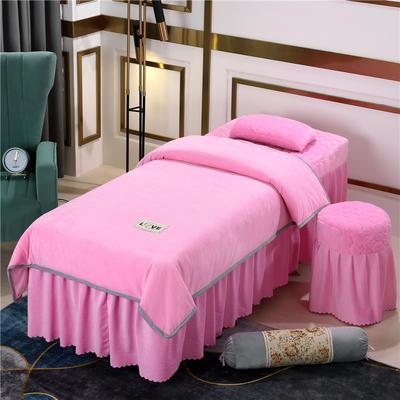 2020新款牛奶水晶绒梦之语夹棉系列美容床罩四件套 圆头四件套 (70*185) JB-粉色