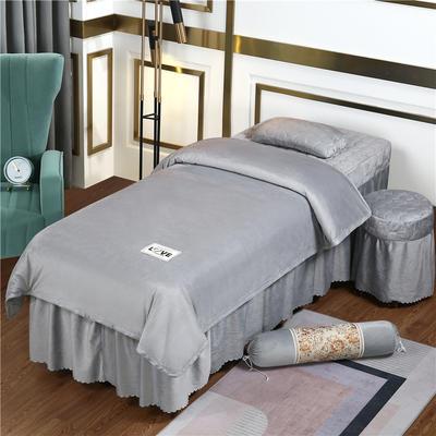 2020新款牛奶水晶绒梦之语夹棉系列美容床罩四件套 圆头四件套 (70*185) JB-灰