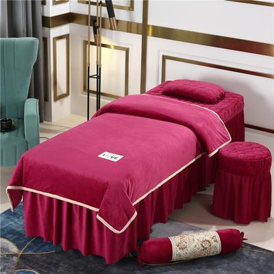 2020新款牛奶水晶绒梦之语夹棉系列美容床罩四件套 圆头四件套 (70*185) JB-酒红