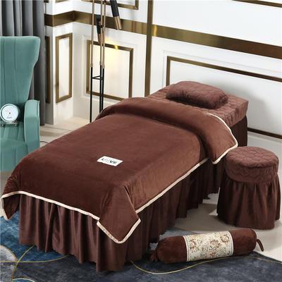 2020新款牛奶水晶绒梦之语夹棉系列美容床罩四件套 圆头四件套 (70*185) JB-咖啡