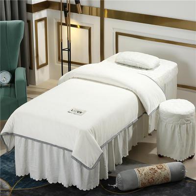 2020新款牛奶水晶绒梦之语夹棉系列美容床罩四件套 圆头四件套 (70*185) JB-米白